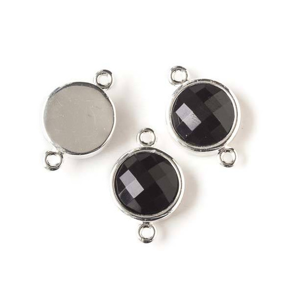 Onyx 12x20mm Coin Link with Silver Bezel and Loops - 1 per bag