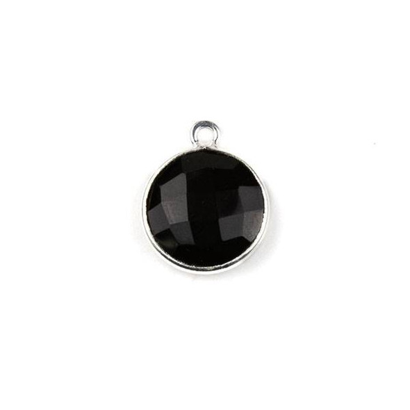 Onyx 13x16mm Faceted Coin Drop with a Silver Plated Brass Bezel