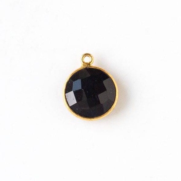 Onyx 14x17mm Coin Drop with a Gold Plated Brass Bezel