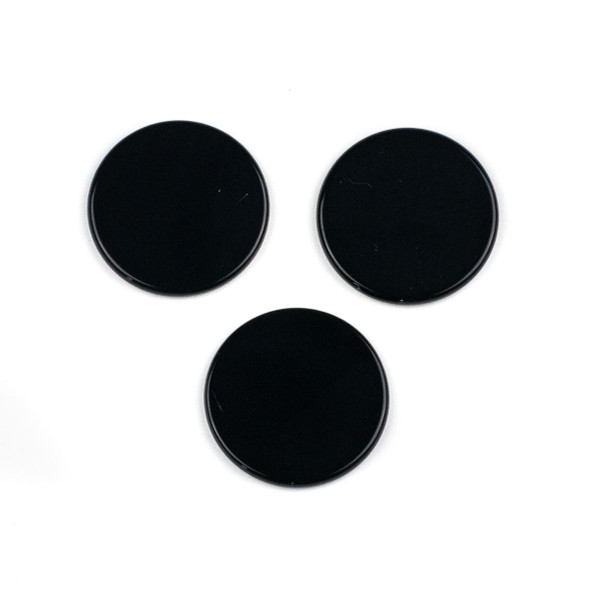 Onyx 3mm thick x 30mm Coin Cabochon - 1 per bag