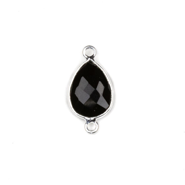 Onyx approximately 11x22mm Teardrop Link with a Silver Plated Brass Bezel - 1 per bag