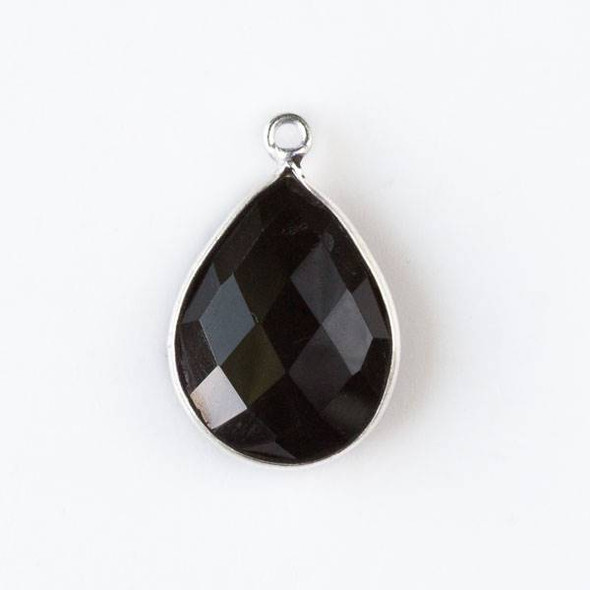 Onyx approximately 15x20mm Faceted Teardrop Drop with a Silver Plated Brass Bezel