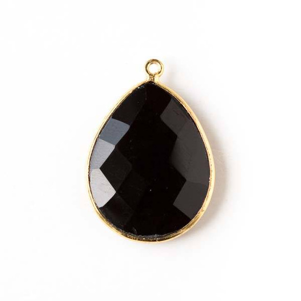 Onyx approximately 19x27mm Teardrop Drop with a Gold Plated Brass Bezel