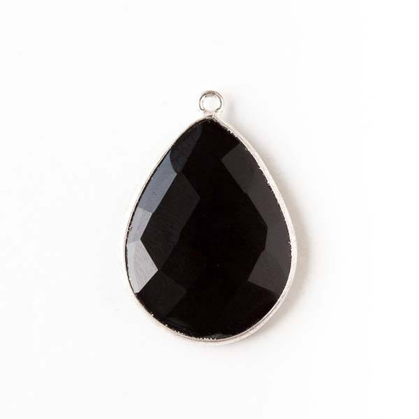 Onyx approximately 19x27mm Teardrop Drop with a Silver Plated Brass Bezel