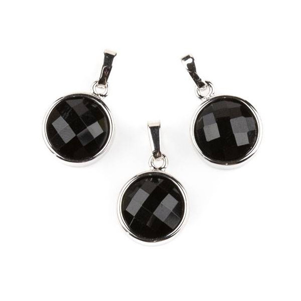 Onyx 12mm Faceted Coin Pendant with Silver Plated Bezel and Bail -  1 per bag