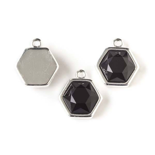 Onyx 14x16mm Hexagon Drop with Silver Bezel - 1 per bag