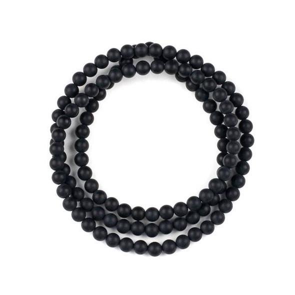 Matte Onyx 6mm Mala Round Beads - 29 inch strand