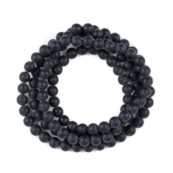Matte Onyx 8mm Mala Round Beads - 36 inch strand