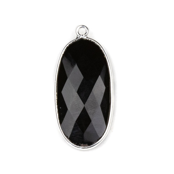 Onyx approximately 17x34mm Oval Drop with a Silver Plated Brass Bezel - 1 per bag