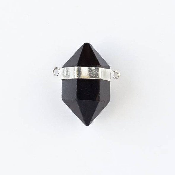 Onyx 16x26mm Hexagonal Point Pendant with 2 Silver Plated Brass Loops
