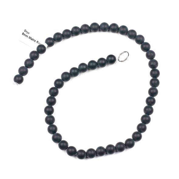 Matte Onyx Grade A 8mm Round Beads - 15 inch strand