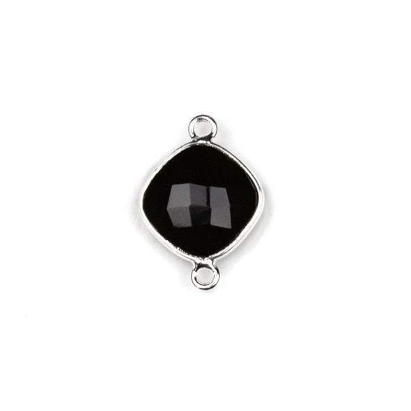 Onyx approximately 14x21mm Rounded Diamond Link with a Silver Plated Brass Bezel - 1 per bag
