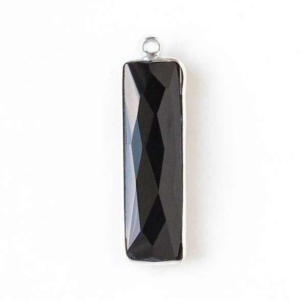 Onyx 10x33mm Rectangle Drop with a Silver Plated Brass Bezel