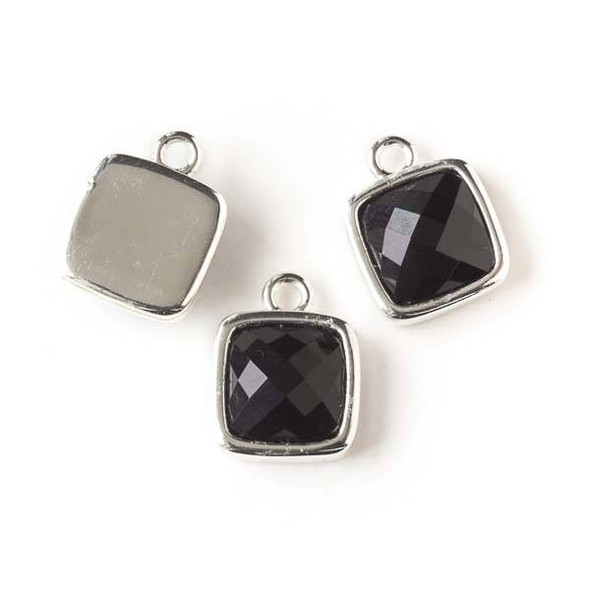 Onyx 12x16mm Square Drop with Silver Bezel - 1 per bag
