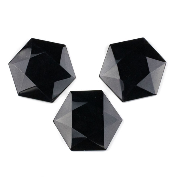 Onyx 40x45mm Top Drilled Faceted Hexagon Pendant - 1 per bag