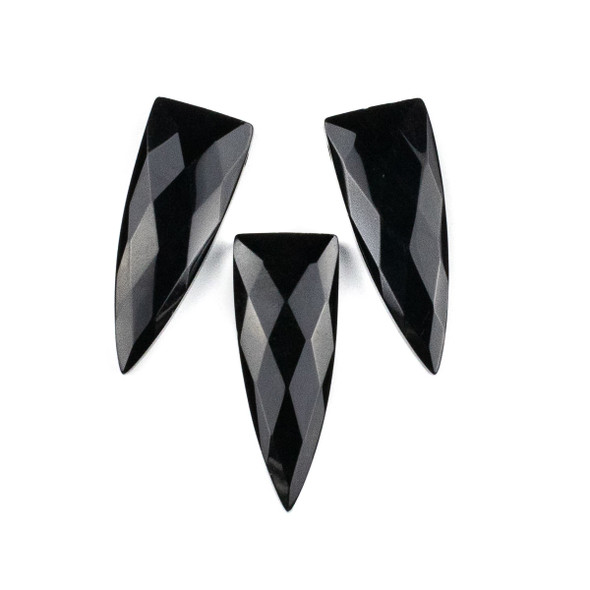 Onyx 16x42mm Top Drilled Faceted Shield Pendant - 1 per bag