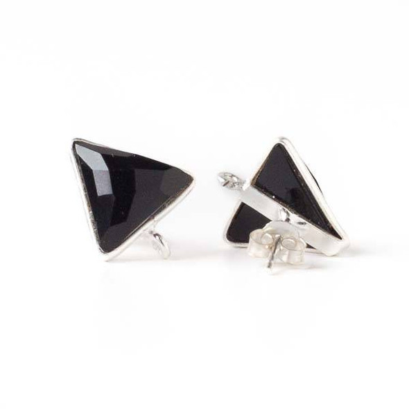 Onyx 13x15mm Triangle Sterling Silver Stud Earrings with Jump Ring Loop