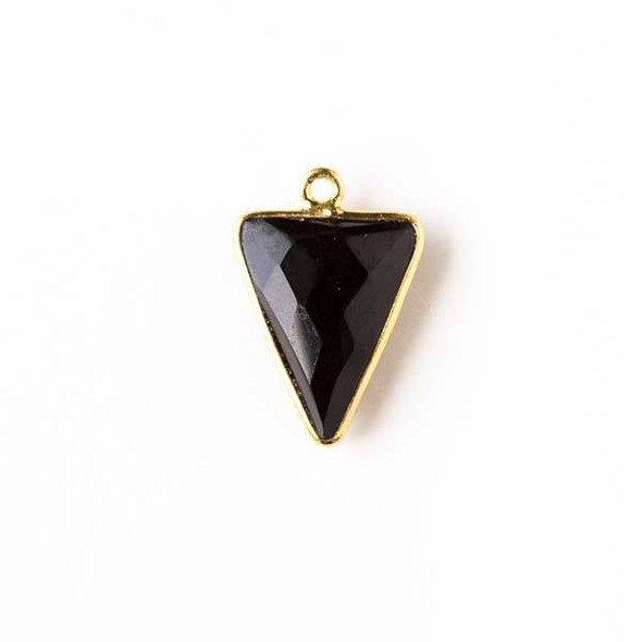 Onyx 14x19mm Small Triangle Drop with a Gold Plated Brass Bezel