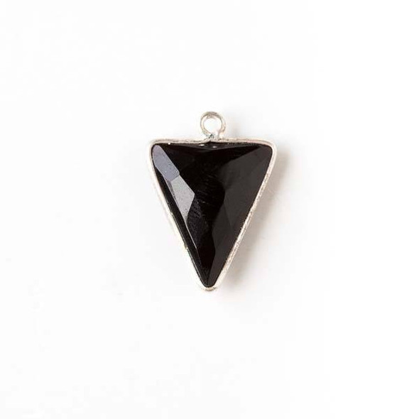 Onyx 14x19mm Small Triangle Drop with a Silver Plated Brass Bezel