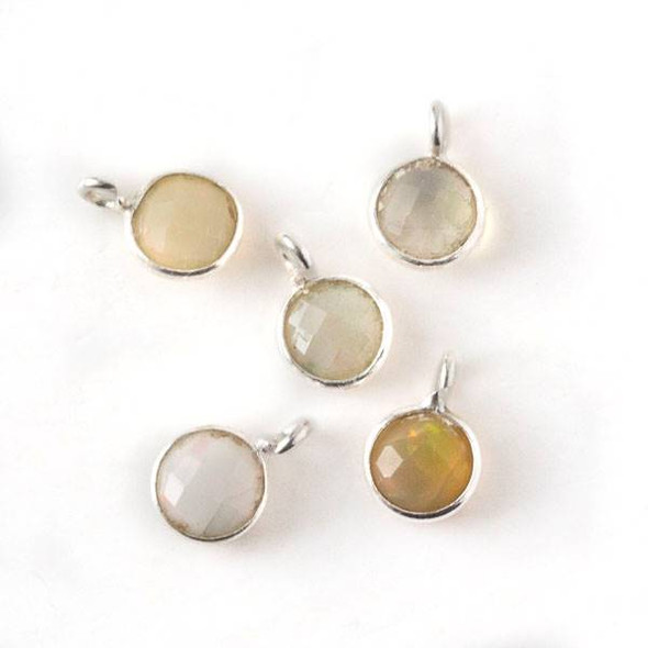 Ethiopian Opal 7x10mm Coin Drop with Silver Plated Brass Bezel and Loop, October Birthstone - 1 per bag