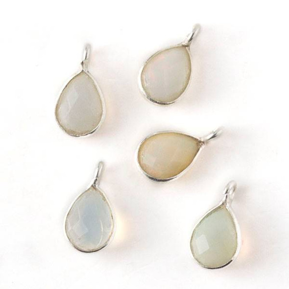 Ethiopian Opal approximately 7x12mm Teardrop Drop with Silver Plated Brass Bezel and Loop, October Birthstone - 1 per bag