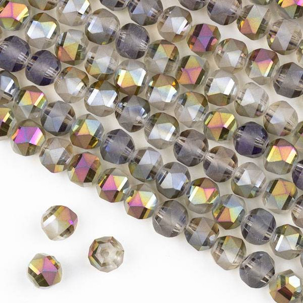 Crystal Orbits Matte 8mm Faceted Round Beads Smoke AB and Gold - Approx. 16 inch strand