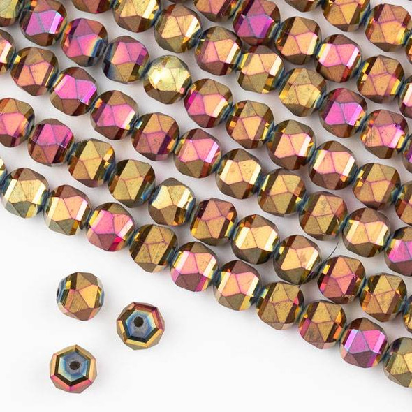 Crystal Orbits Matte 8mm Faceted Round Beads Hot Pink Kissed Golden Copper - Approx. 16 inch strand