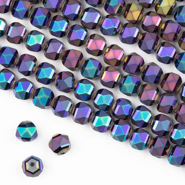 Crystal Orbits Matte 8mm Faceted Round Beads Purple Mermaid Scales - Approx. 16 inch strand