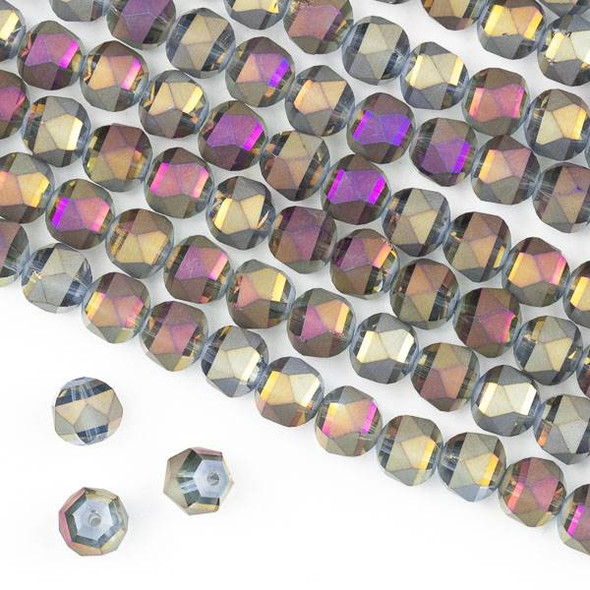 Crystal Orbits Matte 8mm Faceted Round Beads Golden Honey with Purple AB - Approx. 16 inch strand