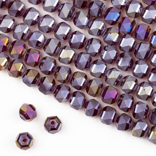 Crystal Orbits Matte 8mm Faceted Round Beads Ruby Red with Golden AB - Approx. 16 inch strand