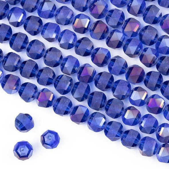 Crystal Orbits Matte 8mm Faceted Round Beads Sapphire Blue AB - Approx. 16 inch strand