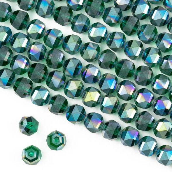 Crystal Orbits Matte 8mm Faceted Round Beads Teal Emerald Green AB - Approx. 16 inch strand