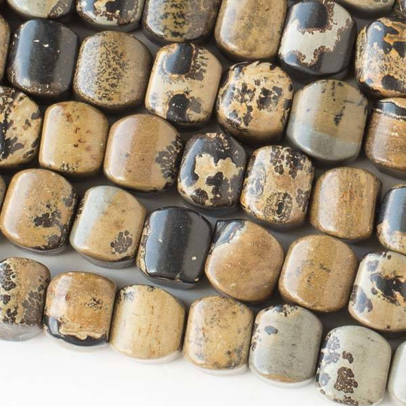 Paint Brush Jasper 8mm Cushion Beads - approx. 8 inch strand, Set A
