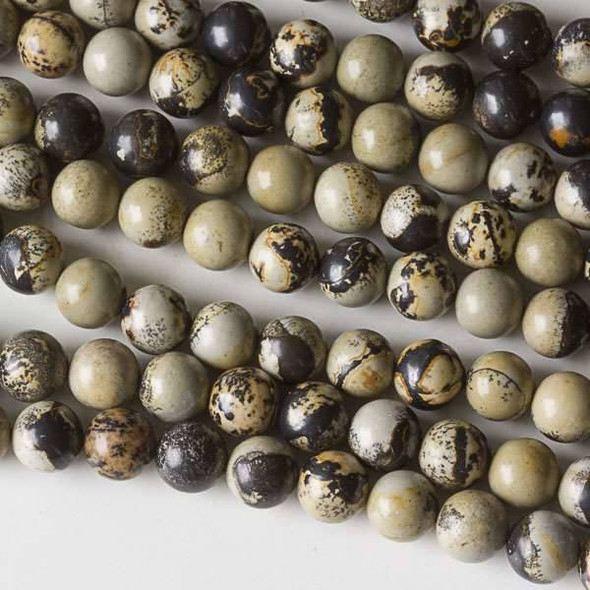 Paint Brush Jasper 6mm Round Beads - approx. 8 inch strand, Set A