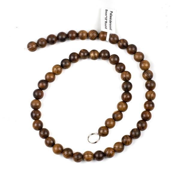 Palisander Wood 8mm Round Beads - 16 inch strand