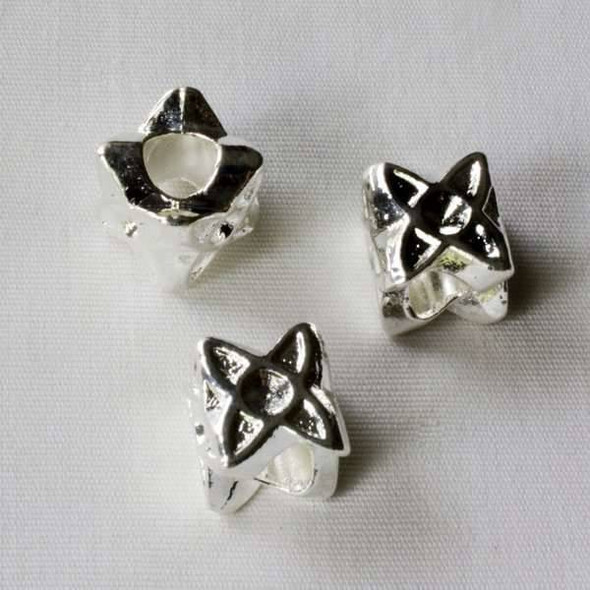 Single Large Hole 9mm Silver Four Sided Star Spacer Bead