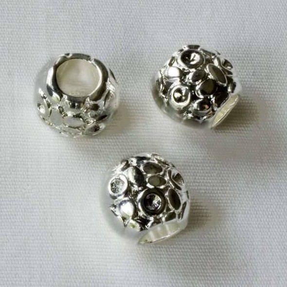 Single Large Hole 9mm Silver Barrel Spacer Bead with Organic Shapes