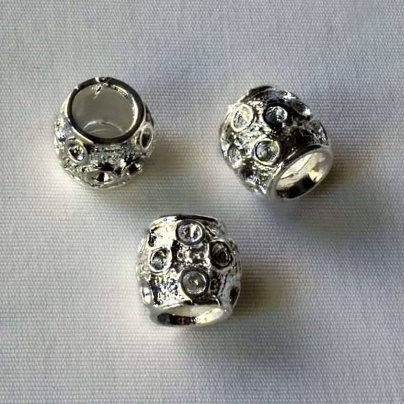Single Large Hole 9x10mm Silver Barrel Spacer Bead with Circles