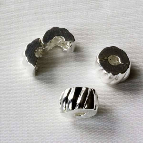 Single Large Hole 6x10mm Silver Clip Bead with Stripes