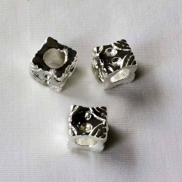 Single Large Hole 8mm Silver Cube Spacer Bead with Circular Dips and Lines