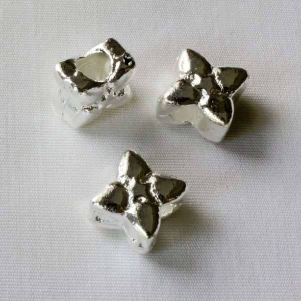 Single Large Hole 6x9mm Silver Flower Spacer Bead