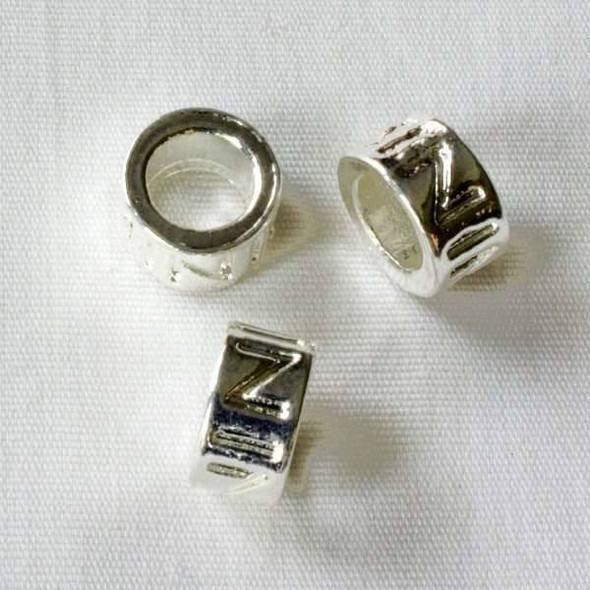 Single Large Hole 5x9mm Silver Tube Spacer Bead with Z's