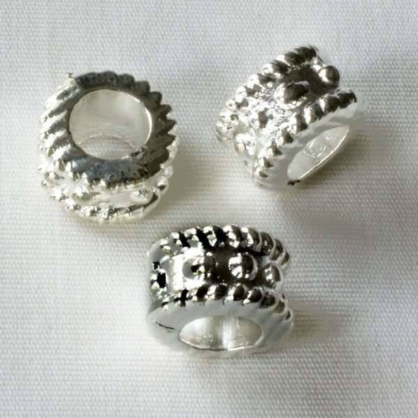 Single Large Hole 7x10mm Silver Tube Spacer Bead with Dots