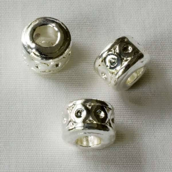 Single Large Hole 7x9mm Silver Tube Spacer Bead with Circles