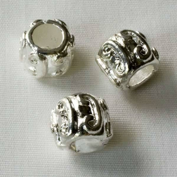Single Large Hole 8x10mm Silver Tube Spacer Bead with Curls