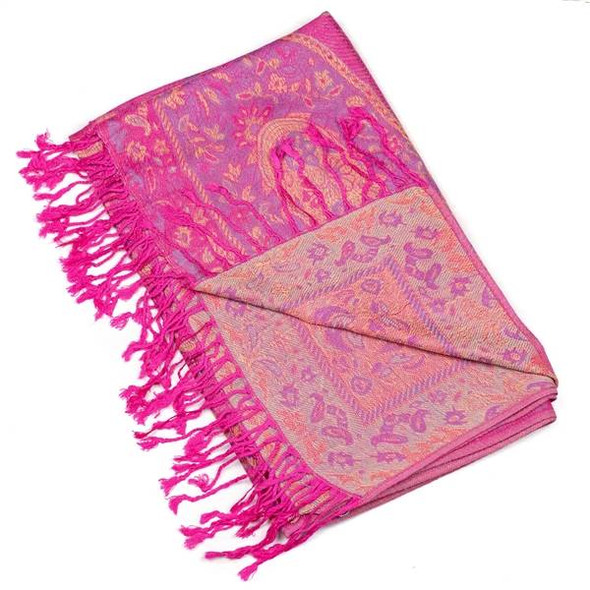 Pashmina Scarf with Hot Pink and Gold Floral Paisley Pattern - #23