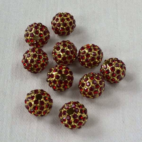 8mm Gold Pave Bead with Ruby Crystals