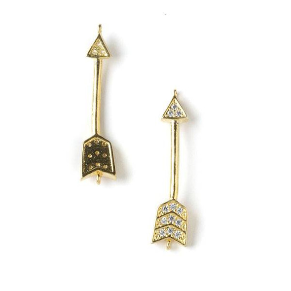 Gold Plated Brass Pave 9x34mm Arrow Link with Crystals - 1 per bag