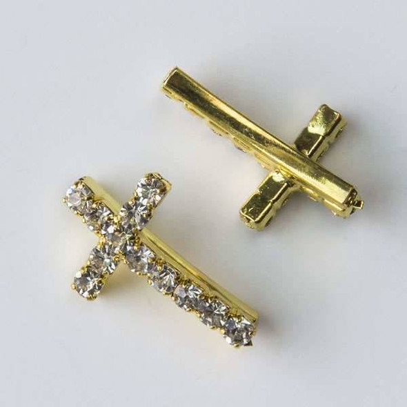 Pave 12x20mm Gold Convex Cross with Crystals
