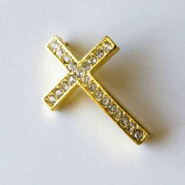 Base Metal Gold 23x34mm Convex Pave Cross with 3 Holes - 1 per bag